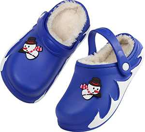 Boys Girls Warm Slippers Cute Kids Winter Indoor Household Shoes with Cartoon Charms Size 3 M US Blue Big Kid