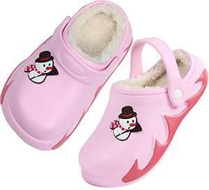 Boys Girls Fur Lined Clog Winter Slippers Garden Shoes Warm House Shoes Non-Slip Indoor Outdoor Size 9 M 10 M US Pink Toddler
