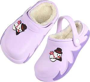 Girls Boys Fur Lined Clogs Winter Garden Shoes Warm Outdoor Mules Sandals Size 3 M US Purple Big Kid