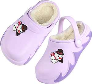 Boys Girls Fur Lined Clog Winter Slippers Garden Shoes Warm House Shoes Non-Slip Indoor Outdoor Size 4 M US Purple Big Kid