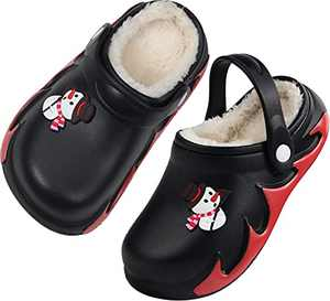 Boys Girls Fur Lined Clog Winter Slippers Garden Shoes Warm House Shoes Non-Slip Indoor Outdoor Size 2.5 M US Black Big Kid