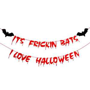 Halloween Banner Scary Blood Drop Banner for Halloween Theme Party Decorations Horror Vampire Zombie Party Supplies Mantle Home Haunted Houses Decor - It's Frickin Bats I Love Halloween