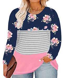 RITERA Plus Size Color Blcok Shirts Long Sleeve Tunics Floral Print Blouses Striped Sweatshirts Blue Flower XL