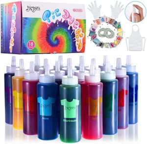 Joy joz Tie Dye Kit Kids 18 Colors, 170 Pcs Permanent All-in-1 Tie Dye Set with 36 Bag Pigments, Rubber Bands, Gloves, Apron and Table Covers for Craft Arts Fabric Textile DIY Handmade (80ML)
