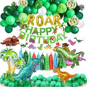 Fruitful Party Dinosaur Birthday Party Supplies Set 118PCS, Dinosaur Party Supplies for Birthday, Dinosaurs Foil Balloons and Paper Fan for Holidays, Birthdays, Christmas