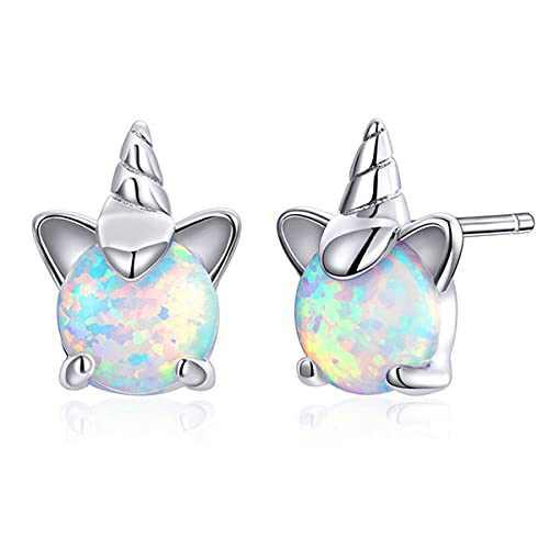 Unicorn Earring Hypoallergenic Sensitive S925 Sterling Silver CZ Opal Stud Earrings for Girls Women Jewelry Gifts With Box (Opal Unicorn)