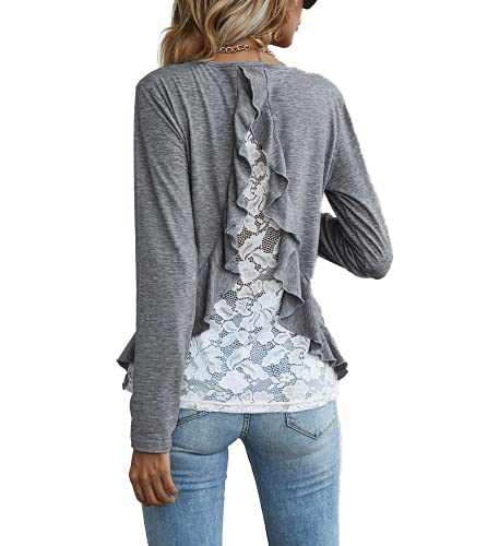 Zooody Women's Lace Ruffle Long Sleeve Tops Casual Loose Fit Crew Neck T Shirts Blouses