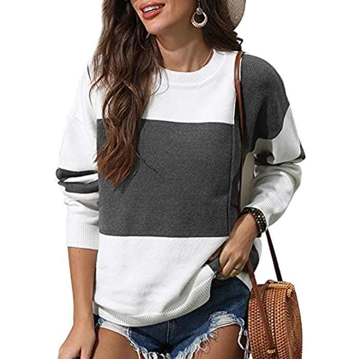 Womens Jumpers Crewneck Long Sleeve Casual Hoodie Color Block Knitted Sweater Pullover Tops