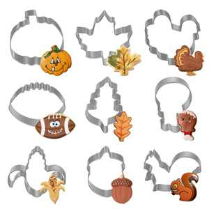 SIAWTVO 9pcs Fall Thanksgiving Cookie Cutters Set, Large Stainless Steel Holiday Cookie Cutters for kids with Pumpkin, Turkey, Squirrel, Acorn, Rugby, Corn, Maple/Oak Leaf and Turkey Leg Shapes