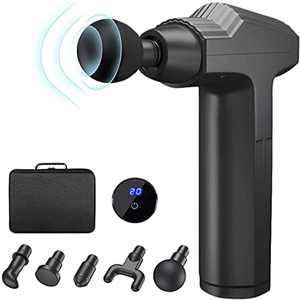 Massage Gun Deep Tissue,20 Speeds Handheld Muscle Massager,Musle Massage Gun with 5 Heads,Powerful Muscle Gun- LED Indicator Touch Screen