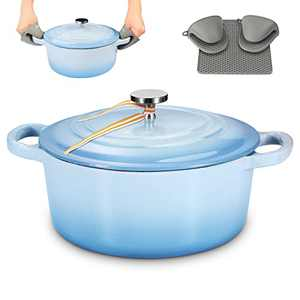 6QT Enamel Cast Iron Dutch Oven with Loop Handles, Covered Dutch Oven, Enamel Stockpot with Lid, Blue