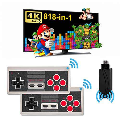 Wireless Retro Game Console Built-in 818 Classic Games, HDMI Handheld Game Console, Plug and Play Video Games Console