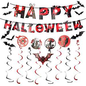 Halloween Banner,Halloween Decoration Set,Halloween Theme Party Bats crows Zombies suits Hanging Decorations