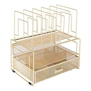 Blu Monaco Workspace Gold Desk Organizer and Accessories Desktop Rack with File Holder Sorters and Drawer for Office Supplies, Paper, Device and Folder