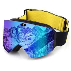 Ski Goggles,Ex-Anti-Fog&UV Color Optimized OTG Magnetic Snowboard Goggles Detachable Lens for Men Women Adult(Blue)