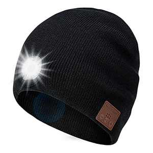 TOUCH TWO Beanie Bluetooth Hat with LED Light Wireless Musical Knitted Cap with Headphone Stereo Speakers & Mic for Running Hiking Jogging Black
