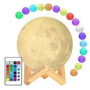 Moon Lamp, Guteauto 4.7 inch 16 Colors LED 3D Print Moon Light with Stand & Touch Control and USB Rechargeable, Moon Light Lamps for Kid Friends Lover Birthday Easter Mothers Days Gift