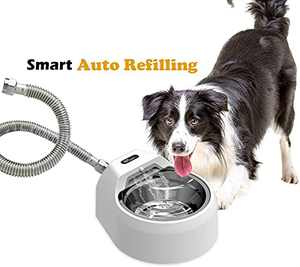 Automatic Outdoor Dog Water Fountain for Pets, Auto Refilling Dog Water Bowl Dispenser Dog Sprinkler Without Step on (M)