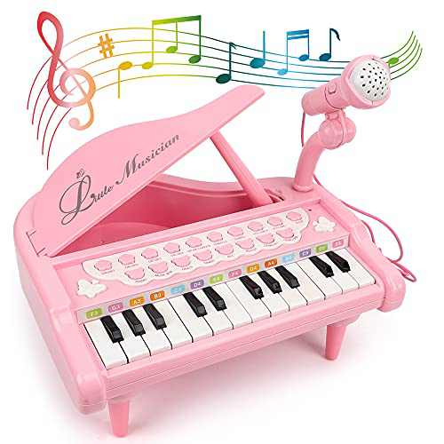 Aomola Piano Keyboard Toy for Kids,3 4 5 Year Old Girls Birthday Gift,24 Keys Multifunctional Piano Toy for Toddlers