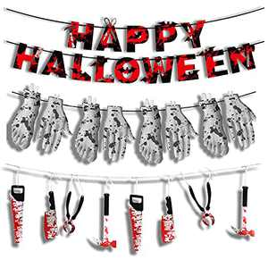 Halloween Bloody Garland Banner,LEQUC Zombie Vampire Party Decorations,Fake Knife Broken Hand and Feet Hanging Banner , Props for Creepy Haunted House Halloween Party Front Windows Door Garage Yard
