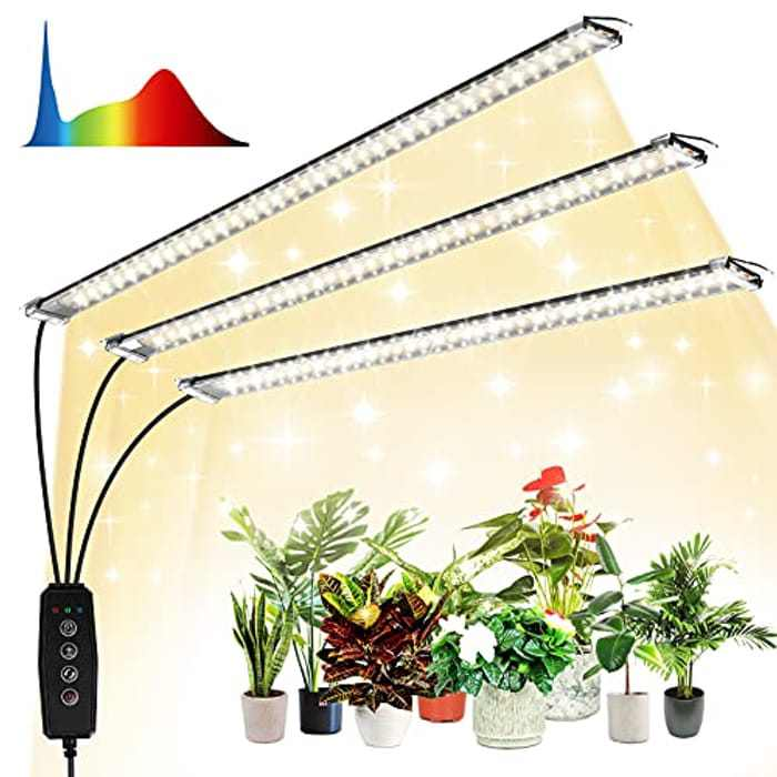 Grow Light for Indoor Plants, Emitever LED Grow Light Plant Growing Lamps, 108 LEDs Full Spectrum, 10 Dimming Level & 3 Grow Lamp with Timer, 7 Switch Mode, for Seedlings and Greenhouse Plant Grow