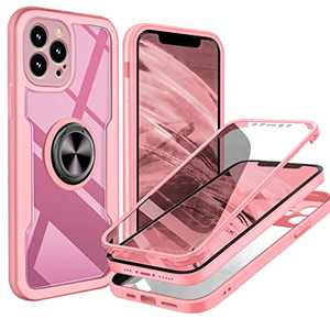 UBUNU iPhone 12 Pro Max Full Body Case, [Built-in Screen Protector] Touch Sensitive Clear Military Grade 360 Protection with Kickstand Ring iPhone 12 Pro max Phone Case 6.7 inch- Pink