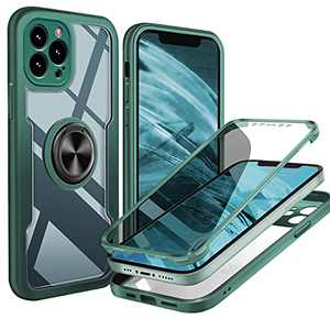 UBUNU iPhone 12 Pro Max Full Body Case, [Built-in Screen Protector] Touch Sensitive Clear Military Grade 360 Protection with Kickstand Ring iPhone 12 Pro max Phone Case 6.7 inch- Green