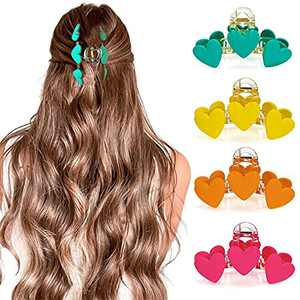 XBllcyiv 4-piece set of hair clips, non-slip hair claw clips, love bright colorful big hair clips, thick hair clips, elegant and fashionable accessories for long hair