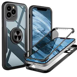 UBUNU iPhone 12 Pro Max Full Body Case, [Built-in Screen Protector] Touch Sensitive Clear Military Grade 360 Protection with Kickstand Ring iPhone 12 Pro max Phone Case 6.7 inch- Black