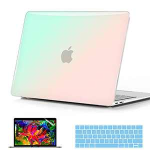 B BELK Compatible with MacBook Air 13 inch Case 2021 2020 Release M1 A2237 A2179 A1932, Soft Touch Hard Shell Case + Keyboard Cover + Screen Protector, Air 2021 Case, Pink Green