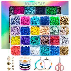 JOJANEAS Clay Beads for Bracelets Making - 4000 Pcs 20 Colors 6mm Heishi & Flat Polymer Clay Beads with Pendant Charms Kit & 4 Roll Elastic Strings for DIY Jewelry Making Bracelets Necklace