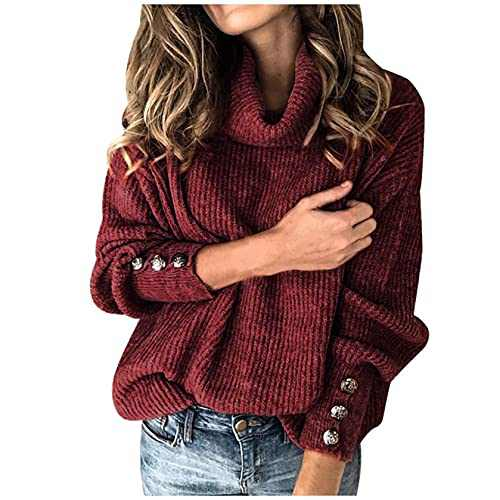 Womens Knit Sweater Turtleneck Tops High Neck Pullover Sweater Lightweight Long Sleeve Sweater Sweater Jumper Tops Red