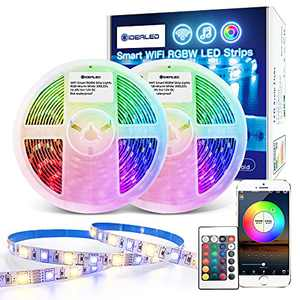GIDEALED Smart WiFi RGBW LED Strip Lights 32.8ft Kit Work with Alexa/Google Assistant,APP/Voice Controlled 5 pin RGB +Warm White Strip Change Color Dimmable White