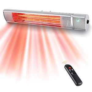 Electric Patio Heater-Indoor/Outdoor Wall Mounted Heater with 3 Power Settings-1500W Infrared Patio Heater with Remote Control for Garage Backyard, Fast Heating