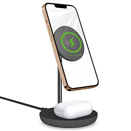 Mag-Safe Wireless Charging Station : 2 in 1 Magnetic Wireless Charger for iPhone 13/12-10w Wireless Charging Pad Compatible with Airpods/iPhone 12/13 Pro Max Mini(Gray)