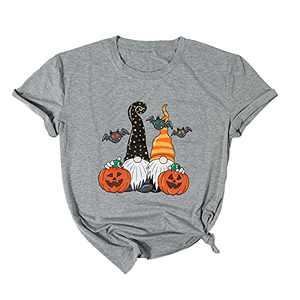 KIDDAD Womens Halloween Gnomes T-Shirt Halloween Pumpkin Graphic Shirt Casual Short Sleeve Tee Top Shirts (Light Gray, M)