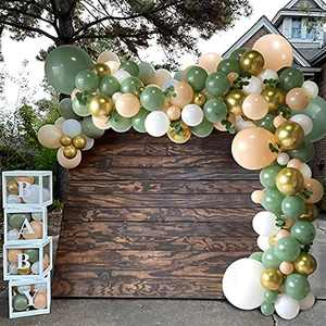 Green Balloon Garland Arch Kit,Olive Green Balloons Arch Set with White Gold Latex Balloons for Girls Boys Baby Shower,Wedding Birthday Balloons Party,Wedding,Jungle Safari Party Decoration 124 Pcs