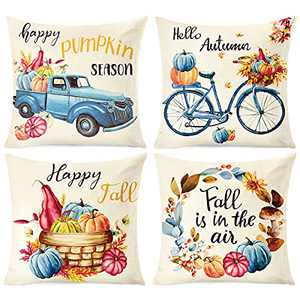 Fall Pillow Covers 18x18 Inch, Pumpkin Throw Pillow Cases Fall Decor for Home, Thanksgiving Autumn Harvest Farmhouse Decorations for Sofa Couch Porch, 4 PCS