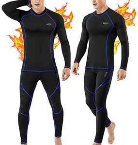 Thermal Underwear for Men, Long Johns Set Base Layer Fleece Lined Top Bottom Black
