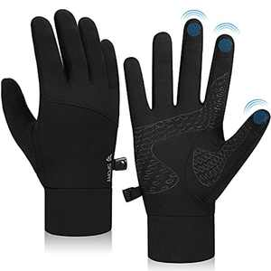 Lapulas Running Gloves Touch Screen Anti Slip Cycling Gloves Winter Thin Thermal Gloves Windproof Warm Liner Gloves Men Women for Outdoor Sports Walking Driving Climbing Riding Working Bike