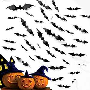 Bats Halloween Decor, 3D Black Bat Wall Stickers Decoration PVC 4 Size 44 Pcs DIY for Outdoor Indoor Window Celling Home Party Decoration