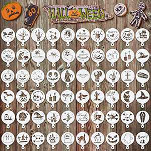 60 Pieces 2021 Halloween Cake Stencil Reusable Painting Stencils for Painting on Wood Slice DIY Halloween Ornaments Coffee Stencils for DIY Art Supplies Cupcake Baking Painting Decor