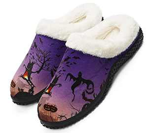 Womens Mens Halloween Slippers with Fuzzy Plush Lining, Halloween decorations indoor,Ghost and Pumpkin