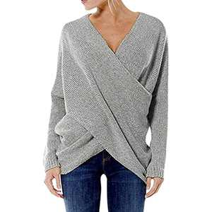 Women Casual Sweaters V Neck Long Sleeve Cross Wrap Front Off Shoulder Asymmetric Hem Knitted Crop Solid Pullover