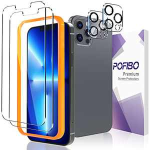 POFIBO Screen Protector Compatible for iPhone 13 Pro 6.1-inch with 2 Pack Camera Lens Protector,Scratch Resistant Sensitive Touch,9 H Tempered Glass Protective Film,Full Protection