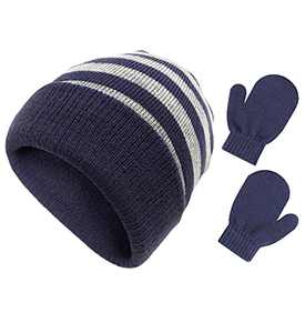Fynnsure Baby Beanie Winter Hat for Boys Girls Toddler Mittens Soft Warm Hats and Gloves Set Stripe Knit Caps Navy-Gray