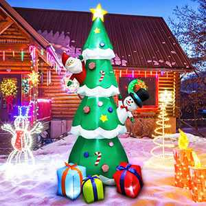8 FT Christmas Inflatable Tree Christmas Decoration with LED Lights, Blow Up Inflatable Tree Yard Decorations with 3 Gift Boxes for Xmas Party Indoor, Outdoor, Garden Decor