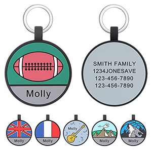 Freedcozy Upgraded Engraving Dog ID Tags for Pet Funny - Personalized ID Name Tag for Small Large Pet - Silent Silicone Double Sided Custom for Dog Cat Tags (Round-Football)