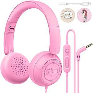 Kids Headphones with Microphone for School Link Dream Foldable Stereo Headphones for Kids with Volume Limited 85/94dB, On-Ear Wired Kids Headphones Plug in for Girls School Computer iPad Tablet, Pink