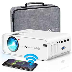 WiFi Projector ASAKUKI Mini Portable Projector for Home Outdoor Movies with Carrying Bag, 7500L, 1080P, 200'' Screen Supported, Great for Home Theater with iPhone/Android/iOS/HDMI/USB/VGA/AV Port